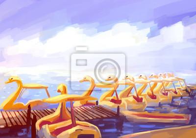 Средиземноморье, современный пейзаж Иллюстрация цифровой живописи речном трамвайчике Средиземноморье, современный пейзаж<br>Репродукция на холсте или бумаге. Любого нужного вам размера. В раме или без. Подвес в комплекте. Трехслойная надежная упаковка. Доставим в любую точку России. Вам осталось только повесить картину на стену!<br>