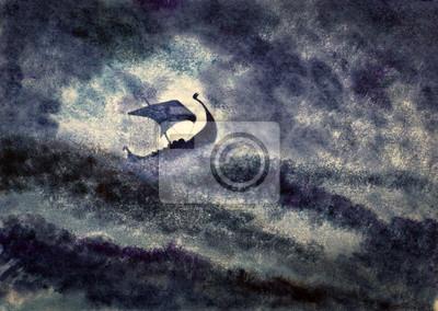 Пейзаж современный морской Корабль викингов в штормеПейзаж современный морской<br>Репродукция на холсте или бумаге. Любого нужного вам размера. В раме или без. Подвес в комплекте. Трехслойная надежная упаковка. Доставим в любую точку России. Вам осталось только повесить картину на стену!<br>