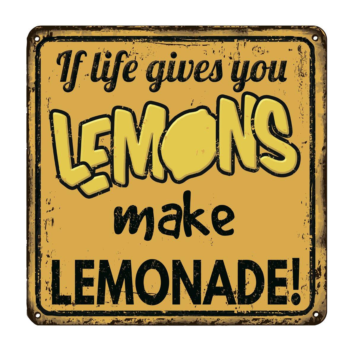 Если жизнь дает тебе лимоны сделать лимонад старинный ржавый металлический знак, 20x20 см, на бумагеСмешные таблички<br>Постер на холсте или бумаге. Любого нужного вам размера. В раме или без. Подвес в комплекте. Трехслойная надежная упаковка. Доставим в любую точку России. Вам осталось только повесить картину на стену!<br>