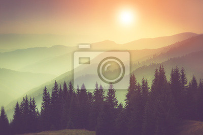 Постер Туман Пейзаж туманный горы, холмы и леса. Фантастический вечер, светящийся солнечным светом.Туман<br>Постер на холсте или бумаге. Любого нужного вам размера. В раме или без. Подвес в комплекте. Трехслойная надежная упаковка. Доставим в любую точку России. Вам осталось только повесить картину на стену!<br>