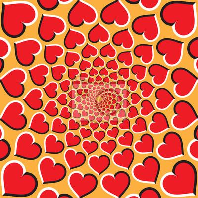 Постер-картина Оптическое искусство Оптическая иллюзия фон. Красные сердца движутся по кругу к центру на Золотой фон. Красный фон сердца.Оптическое искусство<br>Постер на холсте или бумаге. Любого нужного вам размера. В раме или без. Подвес в комплекте. Трехслойная надежная упаковка. Доставим в любую точку России. Вам осталось только повесить картину на стену!<br>