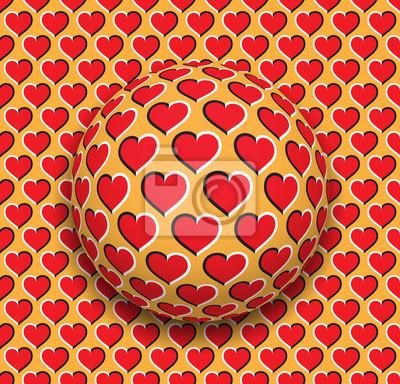 Постер-картина Оптическое искусство Шар с рисунком сердца, скользящий по красной поверхности сердца. Абстрактные векторные оптические иллюзии иллюстрации. Романтический фон и плитка бесшовных обоев.Оптическое искусство<br>Постер на холсте или бумаге. Любого нужного вам размера. В раме или без. Подвес в комплекте. Трехслойная надежная упаковка. Доставим в любую точку России. Вам осталось только повесить картину на стену!<br>
