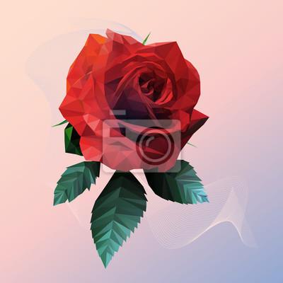 Постер-картина Полигональный арт Романтический красная роза низкий стиль поли на розовом синем фонеПолигональный арт<br>Постер на холсте или бумаге. Любого нужного вам размера. В раме или без. Подвес в комплекте. Трехслойная надежная упаковка. Доставим в любую точку России. Вам осталось только повесить картину на стену!<br>