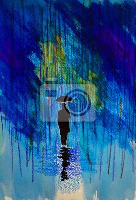 Постер Современный городской пейзаж Мужчина в шляпе с зонтиком в дождьСовременный городской пейзаж<br>Постер на холсте или бумаге. Любого нужного вам размера. В раме или без. Подвес в комплекте. Трехслойная надежная упаковка. Доставим в любую точку России. Вам осталось только повесить картину на стену!<br>