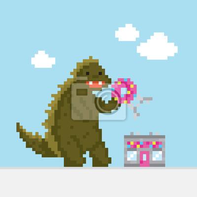 Постер-картина Пиксель-арт Большой мультфильм динозавр атакует пончик кафе векторные иллюстрацииПиксель-арт<br>Постер на холсте или бумаге. Любого нужного вам размера. В раме или без. Подвес в комплекте. Трехслойная надежная упаковка. Доставим в любую точку России. Вам осталось только повесить картину на стену!<br>