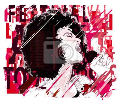 Постер Оформление офиса Музыка Джаз, афро американская джазовая певица, 24x20 см, на бумагеМузыка<br>Постер на холсте или бумаге. Любого нужного вам размера. В раме или без. Подвес в комплекте. Трехслойная надежная упаковка. Доставим в любую точку России. Вам осталось только повесить картину на стену!<br>
