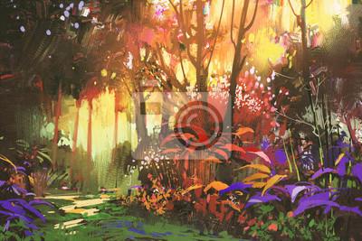 Постер Утро Пейзаж красивый лес с солнечным светом,иллюстрацииУтро<br>Постер на холсте или бумаге. Любого нужного вам размера. В раме или без. Подвес в комплекте. Трехслойная надежная упаковка. Доставим в любую точку России. Вам осталось только повесить картину на стену!<br>