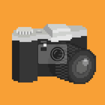 Постер-картина Пиксель-арт Пиксель арт фотографической камеры с объективом. Изолированных иллюстрация значок Пиксель-арт<br>Постер на холсте или бумаге. Любого нужного вам размера. В раме или без. Подвес в комплекте. Трехслойная надежная упаковка. Доставим в любую точку России. Вам осталось только повесить картину на стену!<br>