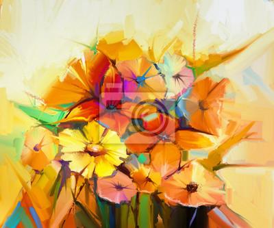 Постер Цветы в современной живописи Абстрактный картина маслом весенний цветок. Натюрморт желтые, розовые и красные герберы, маргаритки, Нарцисс. Красочный букет цветов со светло-желтый, фон. Ручная роспись цветочные стиле импрессионистовЦветы в современной живописи<br>Постер на холсте или бумаге. Любого нужного вам размера. В раме или без. Подвес в комплекте. Трехслойная надежная упаковка. Доставим в любую точку России. Вам осталось только повесить картину на стену!<br>