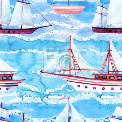 Пейзаж современный морской Акварель бесшовные модели парусных кораблейПейзаж современный морской<br>Репродукция на холсте или бумаге. Любого нужного вам размера. В раме или без. Подвес в комплекте. Трехслойная надежная упаковка. Доставим в любую точку России. Вам осталось только повесить картину на стену!<br>