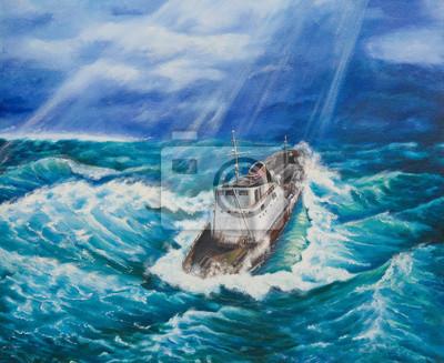 Пейзаж современный морской Картина маслом на холсте.Корабль в бушующем мореПейзаж современный морской<br>Репродукция на холсте или бумаге. Любого нужного вам размера. В раме или без. Подвес в комплекте. Трехслойная надежная упаковка. Доставим в любую точку России. Вам осталось только повесить картину на стену!<br>