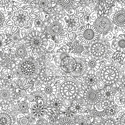 Постер-картина Раскраски антистресс Бесшовные рука нарисованные шаблон с цветами. Витиеватый узор с абстрактными цветами и листьями. Каракули цветочный фон. Рисунок в стиле Zentangle. Черно-белый шаблон для Вашего бизнеса.Раскраски антистресс<br>Постер на холсте или бумаге. Любого нужного вам размера. В раме или без. Подвес в комплекте. Трехслойная надежная упаковка. Доставим в любую точку России. Вам осталось только повесить картину на стену!<br>