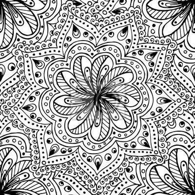 Постер-картина Раскраски антистресс Каракули бесшовный фон в векторе с рисунками, цветами и пейсли. Векторные этнические шаблон может использоваться для обоев, узорные заливки, раскраски и странички для детей и взрослых. Черный и белый.Раскраски антистресс<br>Постер на холсте или бумаге. Любого нужного вам размера. В раме или без. Подвес в комплекте. Трехслойная надежная упаковка. Доставим в любую точку России. Вам осталось только повесить картину на стену!<br>