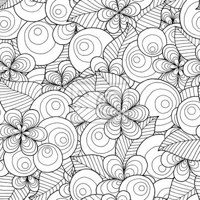 Постер-картина Раскраски антистресс Бесшовные азиатских этнических цветочные ретро каракули черный и белый узор в векторе. Фон с цветочными элементами. Может использоваться для обоев, узорные заливки, раскраски и странички для детей и взрослых.Раскраски антистресс<br>Постер на холсте или бумаге. Любого нужного вам размера. В раме или без. Подвес в комплекте. Трехслойная надежная упаковка. Доставим в любую точку России. Вам осталось только повесить картину на стену!<br>