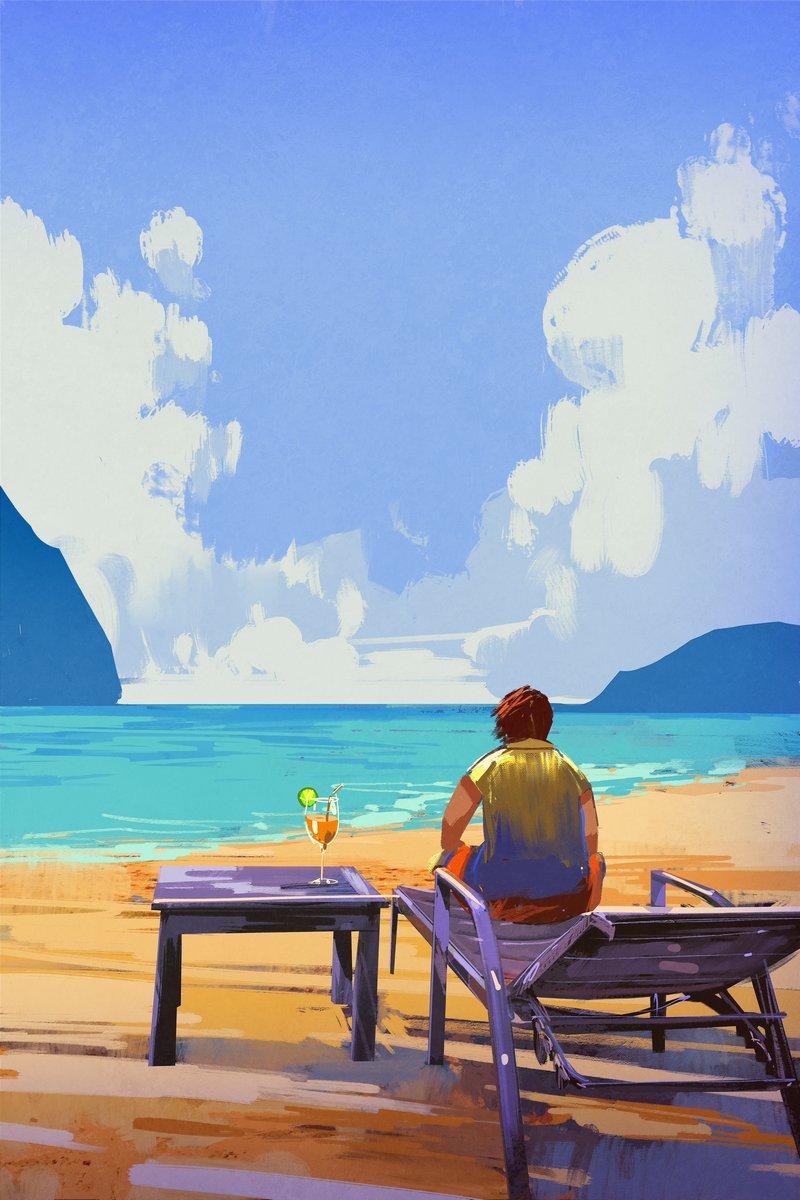 Пейзаж современный морской Человек, сидя на шезлонге на пляже,иллюстрация,летоПейзаж современный морской<br>Репродукция на холсте или бумаге. Любого нужного вам размера. В раме или без. Подвес в комплекте. Трехслойная надежная упаковка. Доставим в любую точку России. Вам осталось только повесить картину на стену!<br>