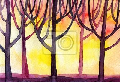 Постер Утро Акварельный закат лес деревья фонУтро<br>Постер на холсте или бумаге. Любого нужного вам размера. В раме или без. Подвес в комплекте. Трехслойная надежная упаковка. Доставим в любую точку России. Вам осталось только повесить картину на стену!<br>