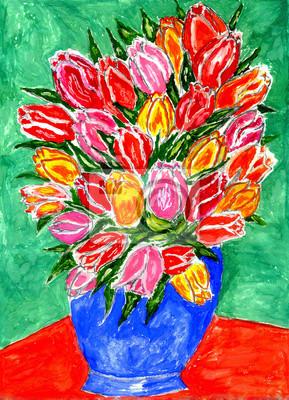 Цветы в современной живописи, картина Тюльпаны в вазописиЦветы в современной живописи<br>Репродукция на холсте или бумаге. Любого нужного вам размера. В раме или без. Подвес в комплекте. Трехслойная надежная упаковка. Доставим в любую точку России. Вам осталось только повесить картину на стену!<br>