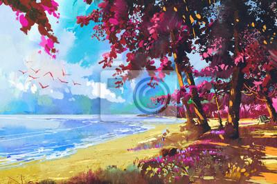 Пейзаж современный морской Розовые деревья на пляже,лето,пейзажПейзаж современный морской<br>Репродукция на холсте или бумаге. Любого нужного вам размера. В раме или без. Подвес в комплекте. Трехслойная надежная упаковка. Доставим в любую точку России. Вам осталось только повесить картину на стену!<br>