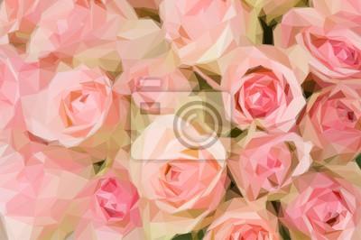 Постер-картина Полигональный арт Букет из розовых розПолигональный арт<br>Постер на холсте или бумаге. Любого нужного вам размера. В раме или без. Подвес в комплекте. Трехслойная надежная упаковка. Доставим в любую точку России. Вам осталось только повесить картину на стену!<br>