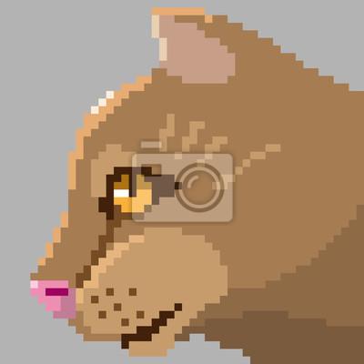 Постер-картина Пиксель-арт Пиксель арт кота головаПиксель-арт<br>Постер на холсте или бумаге. Любого нужного вам размера. В раме или без. Подвес в комплекте. Трехслойная надежная упаковка. Доставим в любую точку России. Вам осталось только повесить картину на стену!<br>