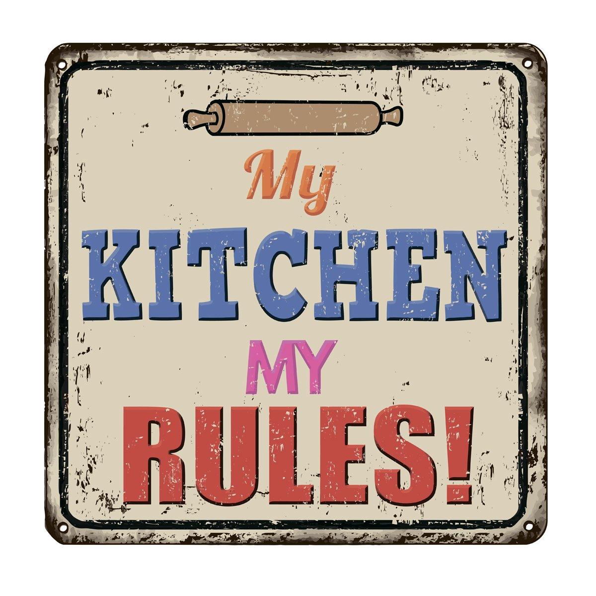Постер-картина Смешные таблички Моя кухня мои правила старинные металлический знакСмешные таблички<br>Постер на холсте или бумаге. Любого нужного вам размера. В раме или без. Подвес в комплекте. Трехслойная надежная упаковка. Доставим в любую точку России. Вам осталось только повесить картину на стену!<br>