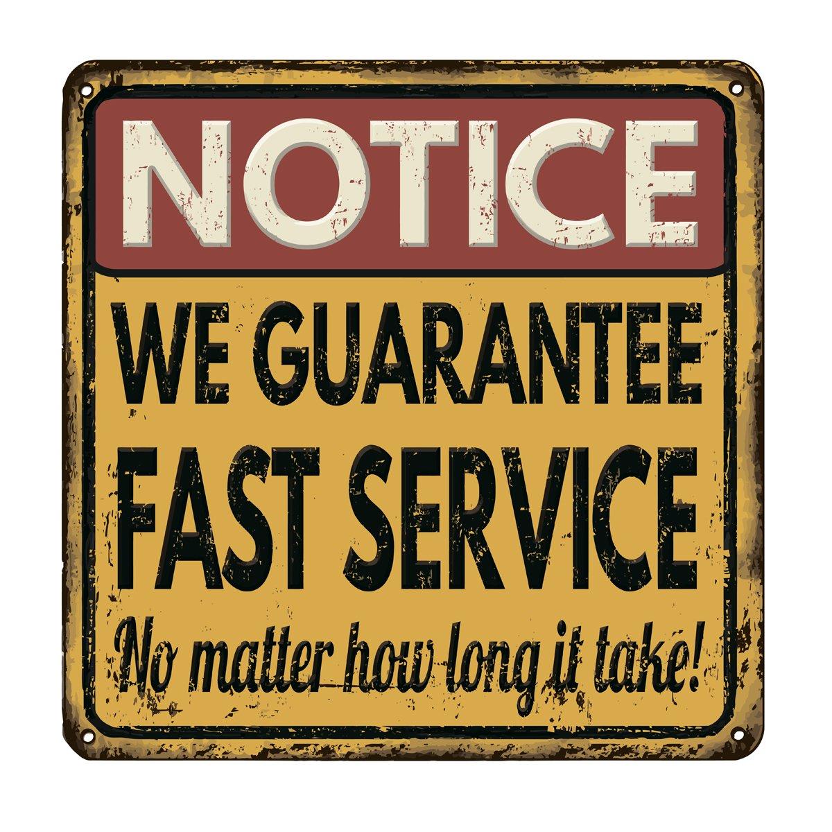 Постер-картина Смешные таблички Мы гарантируем быстрое обслуживание ретро гранж-постерСмешные таблички<br>Постер на холсте или бумаге. Любого нужного вам размера. В раме или без. Подвес в комплекте. Трехслойная надежная упаковка. Доставим в любую точку России. Вам осталось только повесить картину на стену!<br>