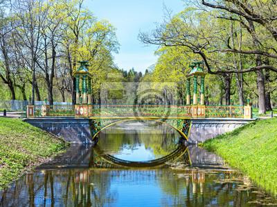 Постер Царское село Яркие зеленые летом посмотреть на китайские мосты в Пушкин, Россия.Царское село<br>Постер на холсте или бумаге. Любого нужного вам размера. В раме или без. Подвес в комплекте. Трехслойная надежная упаковка. Доставим в любую точку России. Вам осталось только повесить картину на стену!<br>