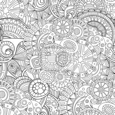 Постер-картина Раскраски антистресс Каракули черный и белый абстрактный рисованной фон вектор. Волнистые zentangle стиль бесшовные шаблон.Раскраски антистресс<br>Постер на холсте или бумаге. Любого нужного вам размера. В раме или без. Подвес в комплекте. Трехслойная надежная упаковка. Доставим в любую точку России. Вам осталось только повесить картину на стену!<br>