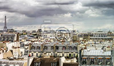 Постер Париж Парижские крыши панорамный обзор в летний деньПариж<br>Постер на холсте или бумаге. Любого нужного вам размера. В раме или без. Подвес в комплекте. Трехслойная надежная упаковка. Доставим в любую точку России. Вам осталось только повесить картину на стену!<br>
