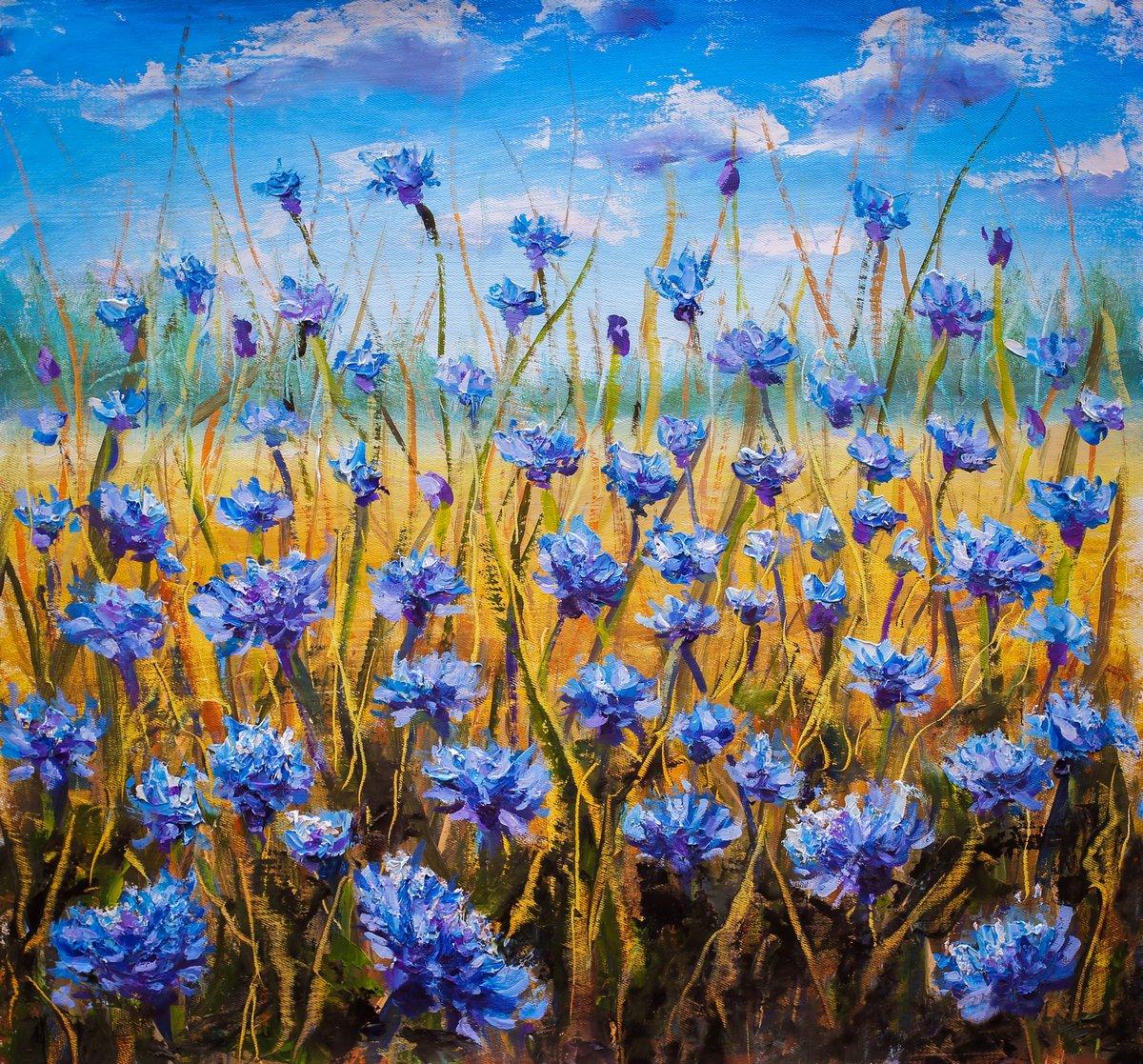 Постер Цветы в современной живописи Синие цветы поле картина маслом.Цветы в современной живописи<br>Постер на холсте или бумаге. Любого нужного вам размера. В раме или без. Подвес в комплекте. Трехслойная надежная упаковка. Доставим в любую точку России. Вам осталось только повесить картину на стену!<br>