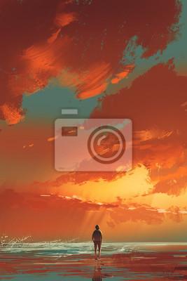 Пейзаж современный морской Одинокий человек, стоящий на берегу моря под закат небо,живопись, иллюстрацияПейзаж современный морской<br>Репродукция на холсте или бумаге. Любого нужного вам размера. В раме или без. Подвес в комплекте. Трехслойная надежная упаковка. Доставим в любую точку России. Вам осталось только повесить картину на стену!<br>