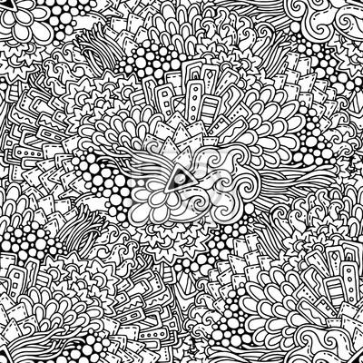 Постер-картина Раскраски антистресс Бесшовные черный и белый этнических цветочные ретро каракули фоновый узор в векторе. Хна пейсли менди каракули дизайн племенной узор. Абстрактный узор с кругами, волны, треугольники, геометрические фигурыРаскраски антистресс<br>Постер на холсте или бумаге. Любого нужного вам размера. В раме или без. Подвес в комплекте. Трехслойная надежная упаковка. Доставим в любую точку России. Вам осталось только повесить картину на стену!<br>