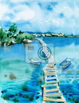 Средиземноморье, современный пейзаж Акварельная живопись. Морской пейзаж с голубой водой, лодки и мост.Средиземноморье, современный пейзаж<br>Репродукция на холсте или бумаге. Любого нужного вам размера. В раме или без. Подвес в комплекте. Трехслойная надежная упаковка. Доставим в любую точку России. Вам осталось только повесить картину на стену!<br>