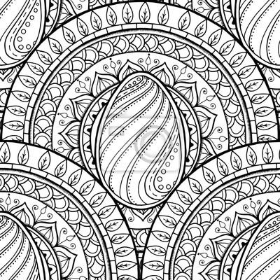 Постер-картина Раскраски антистресс Пасхальная тема мандала с doodle яйцо. Этническая цветочный узор. Черно-белый дизайн. Хна пейсли племенной бесшовный фонРаскраски антистресс<br>Постер на холсте или бумаге. Любого нужного вам размера. В раме или без. Подвес в комплекте. Трехслойная надежная упаковка. Доставим в любую точку России. Вам осталось только повесить картину на стену!<br>