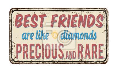 Постер-картина Смешные таблички Лучшие друзья-как бриллианты, драгоценные и редкие знак ретро металлическийСмешные таблички<br>Постер на холсте или бумаге. Любого нужного вам размера. В раме или без. Подвес в комплекте. Трехслойная надежная упаковка. Доставим в любую точку России. Вам осталось только повесить картину на стену!<br>