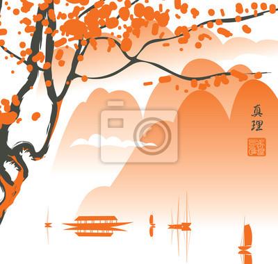 Постер-картина Иероглифы Горный пейзаж в китайской или японской акварелью, изображающие озеро, горы, дерево, ветки, яхта, Японии, Нагаторо. Иероглифы ИстиныИероглифы<br>Постер на холсте или бумаге. Любого нужного вам размера. В раме или без. Подвес в комплекте. Трехслойная надежная упаковка. Доставим в любую точку России. Вам осталось только повесить картину на стену!<br>