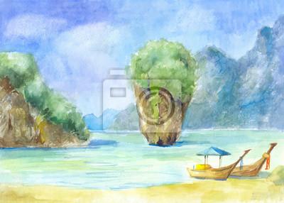 Пейзаж современный морской Пейзаж с скалы, море и лодки, окрашенные в watercoloПейзаж современный морской<br>Репродукция на холсте или бумаге. Любого нужного вам размера. В раме или без. Подвес в комплекте. Трехслойная надежная упаковка. Доставим в любую точку России. Вам осталось только повесить картину на стену!<br>