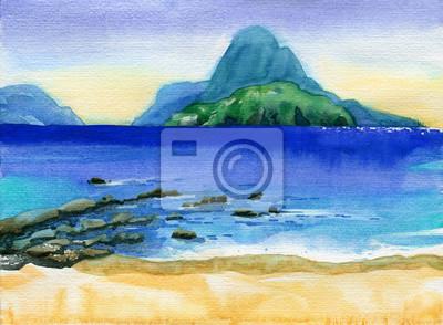 Пейзаж современный морской Тропический пляж с островами на горизонтеПейзаж современный морской<br>Репродукция на холсте или бумаге. Любого нужного вам размера. В раме или без. Подвес в комплекте. Трехслойная надежная упаковка. Доставим в любую точку России. Вам осталось только повесить картину на стену!<br>