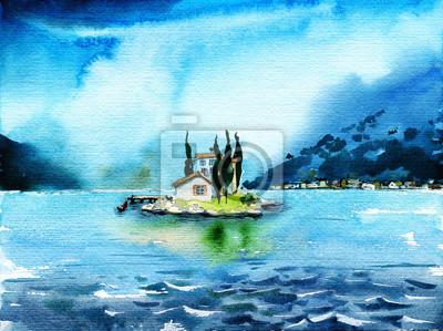 Пейзаж современный морской Маленький одинокий дом с кипарисами на островеПейзаж современный морской<br>Репродукция на холсте или бумаге. Любого нужного вам размера. В раме или без. Подвес в комплекте. Трехслойная надежная упаковка. Доставим в любую точку России. Вам осталось только повесить картину на стену!<br>