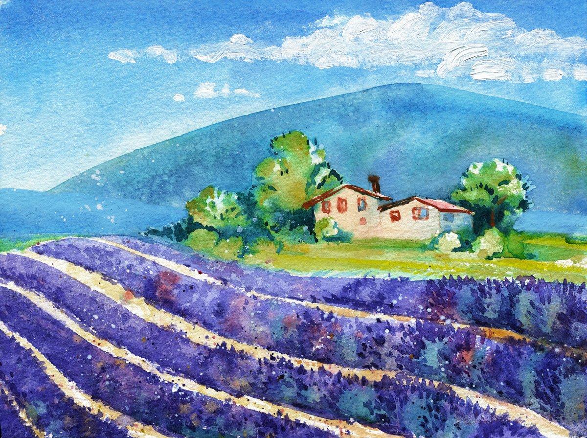 Средиземноморье, современный пейзаж Красивые цветущие поля лаванды с домом в шаговойСредиземноморье, современный пейзаж<br>Репродукция на холсте или бумаге. Любого нужного вам размера. В раме или без. Подвес в комплекте. Трехслойная надежная упаковка. Доставим в любую точку России. Вам осталось только повесить картину на стену!<br>