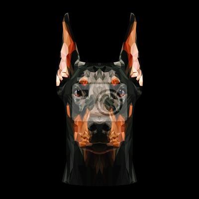 Постер-картина Полигональный арт Доберман-пинчер собака низкополигональная дизайн. Треугольник векторные иллюстрации.Полигональный арт<br>Постер на холсте или бумаге. Любого нужного вам размера. В раме или без. Подвес в комплекте. Трехслойная надежная упаковка. Доставим в любую точку России. Вам осталось только повесить картину на стену!<br>