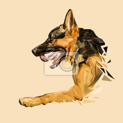 Постер-картина Полигональный арт Немецкая овчарка собака низкополигональная дизайн. Треугольник векторные иллюстрации.Полигональный арт<br>Постер на холсте или бумаге. Любого нужного вам размера. В раме или без. Подвес в комплекте. Трехслойная надежная упаковка. Доставим в любую точку России. Вам осталось только повесить картину на стену!<br>