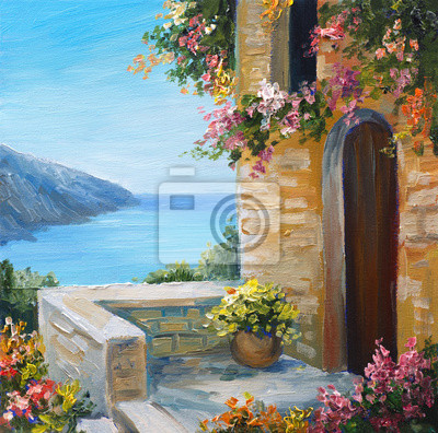 Средиземноморье, современный пейзаж Картина маслом - дом возле моря, ярких цветов, летний пейзажСредиземноморье, современный пейзаж<br>Репродукция на холсте или бумаге. Любого нужного вам размера. В раме или без. Подвес в комплекте. Трехслойная надежная упаковка. Доставим в любую точку России. Вам осталось только повесить картину на стену!<br>