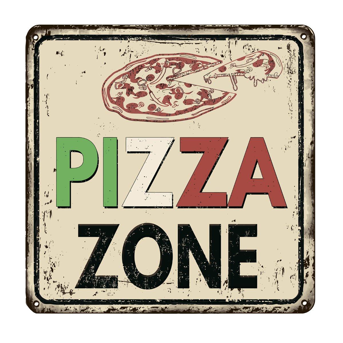 Постер-картина Смешные таблички Зоны пиццу старинный ржавый металлический знакСмешные таблички<br>Постер на холсте или бумаге. Любого нужного вам размера. В раме или без. Подвес в комплекте. Трехслойная надежная упаковка. Доставим в любую точку России. Вам осталось только повесить картину на стену!<br>