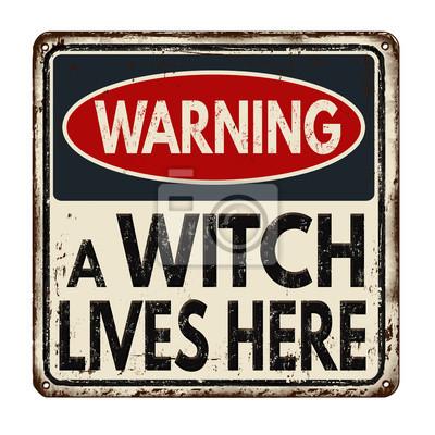 Постер-картина Смешные таблички Предупреждение ведьма живет здесь старинные металлический знакСмешные таблички<br>Постер на холсте или бумаге. Любого нужного вам размера. В раме или без. Подвес в комплекте. Трехслойная надежная упаковка. Доставим в любую точку России. Вам осталось только повесить картину на стену!<br>