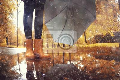 Постер Дождь Осенний пейзаж городская женщина, зонтик дождя лужи желтые деревьяДождь<br>Постер на холсте или бумаге. Любого нужного вам размера. В раме или без. Подвес в комплекте. Трехслойная надежная упаковка. Доставим в любую точку России. Вам осталось только повесить картину на стену!<br>