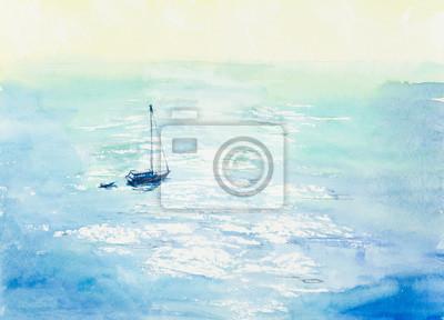 Пейзаж современный морской Лодка в море. Акварель рисованной иллюстрации.Пейзаж современный морской<br>Репродукция на холсте или бумаге. Любого нужного вам размера. В раме или без. Подвес в комплекте. Трехслойная надежная упаковка. Доставим в любую точку России. Вам осталось только повесить картину на стену!<br>