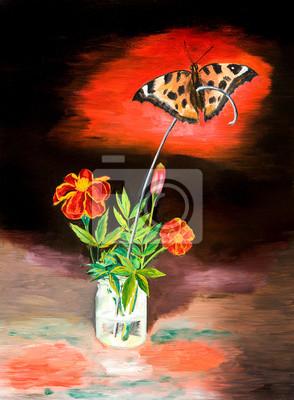 Цветы в современной живописи, картина Аллегория разрушения человеком растений и животныхЦветы в современной живописи<br>Репродукция на холсте или бумаге. Любого нужного вам размера. В раме или без. Подвес в комплекте. Трехслойная надежная упаковка. Доставим в любую точку России. Вам осталось только повесить картину на стену!<br>