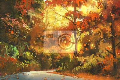 Постер Утро Путь через красочный лес,осенний пейзаж живопись,иллюстрацияУтро<br>Постер на холсте или бумаге. Любого нужного вам размера. В раме или без. Подвес в комплекте. Трехслойная надежная упаковка. Доставим в любую точку России. Вам осталось только повесить картину на стену!<br>