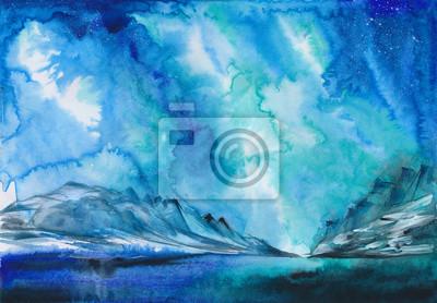 Пейзаж современный морской Красивая зимняя Аврора пейзаж с снежные холмы на расстоянии. Акварельная живопись.Пейзаж современный морской<br>Репродукция на холсте или бумаге. Любого нужного вам размера. В раме или без. Подвес в комплекте. Трехслойная надежная упаковка. Доставим в любую точку России. Вам осталось только повесить картину на стену!<br>